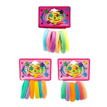 Liga de licra para cabello en cartón con 6 pz mediana, pastel, 5 cm.
