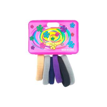 Liga de licra para cabello en cartón con 6 pz mediana, sólidos, inner por comb suj a disp, 5 cm.