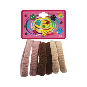 Liga de licra para cabello en cartón con 6 pz mediana, cafés, 4.5 cm.