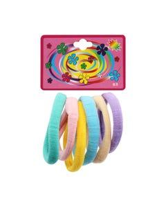 Liga de licra para cabello en cartón con 6 pz grande, pastel, inner por comb suj a disp, 6 cm.