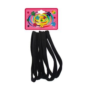Liga de licra para cabello en cartón con 6 pz jumbo, negro, 13 cm aprox.