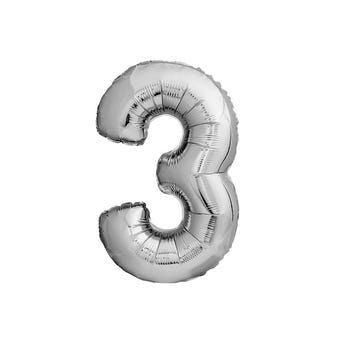 Globo metálico de número 3, plateado, 45 x 26 cm aprox, 16 pulg.