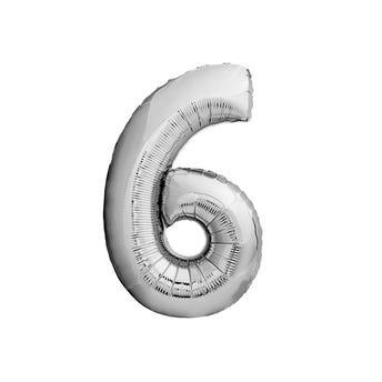 Globo metálico de número 6, plateado, 45 X 30 cm aprox, 16 pulg.