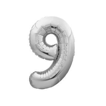 Globo metálico de número 9, plateado, 45 X 30 cm aprox, 16 pulg.