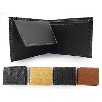 Cartera para caballero exótica vinil, colores surtidos sujetos a disponibilidad, 10.5 X 8.5 cm