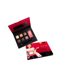 Maquillaje en kit con 6 sombras, 1 rubor, aplicador y espejo, BISSU, Tlaxcala, 14.5 x 11.5 cm