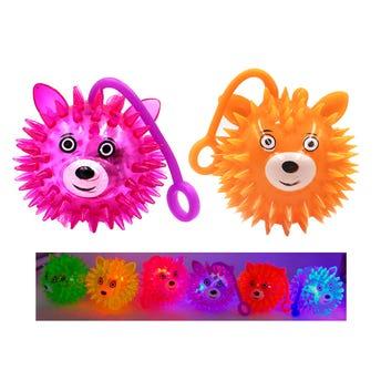 Pelota yoyo de picos oso con luz y pivote chillón, colores surtidos, 6 cm.