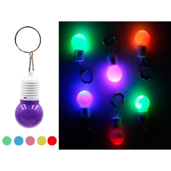 Llavero Foco Luz De Led, Colores Surtidos, 5 X 2.5 Cm.