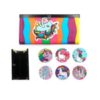 Cartera con separadores y decorado de unicornios, mod y col surtidos sujetos a disp,  19 X 9 cm.