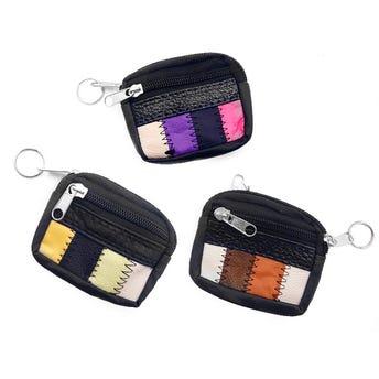 Monedero De 3 Sierres Con Decorado De Colores 8 X 6.5 X 2 Cm