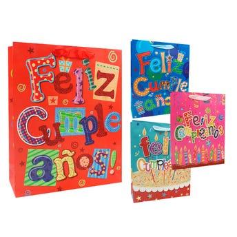 Bolsa para regalo de cumpleaños, modelos surtidos, 32 X 26 X 10 cm.