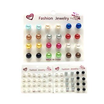 Aretede perlas cartón de 12 pares, colores surtidos.