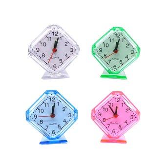 Reloj despertador rombo usa 1 pila AA no incluida, colores surtidos , 8 X 9 cm aprox.