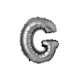 Globo de letra G, plateado, 43 X 33 cm.