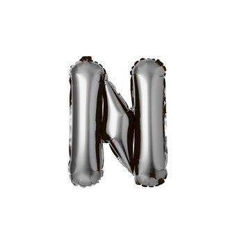 Globo de letra N, plateado, 36 X 36 cm.
