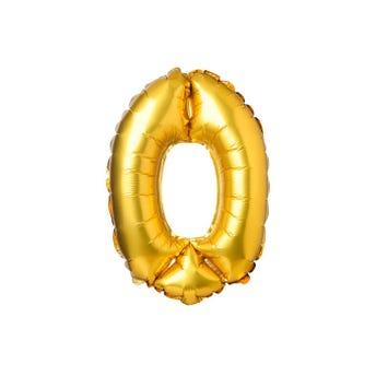 Globo metálico de número 0, dorado, 31 X 38 cm aprox, 16 pulg.