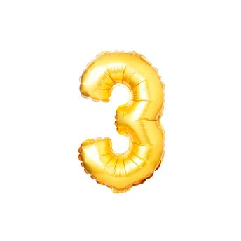 Globo metálico de número 3, dorado, 45 x 26 cm aprox, 16 pulg.