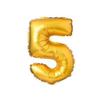 Globo metálico de número 5, dorado, 42 X 25 cm aprox, 16 pulg.