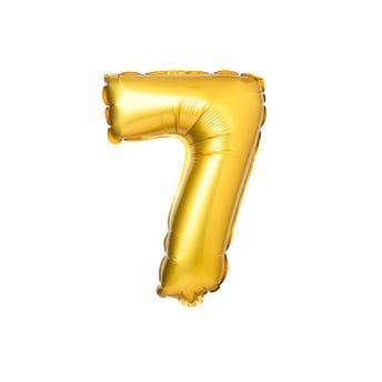 Globo metálico de número 7, dorado, 39 X 29 cm aprox, 16 pulg.