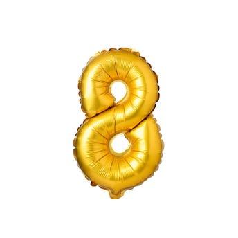 Globo metálico de número 8, dorado, 44 X 28 cm aprox, 16 pulg.