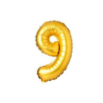 Globo metálico de número 9, dorado, 45 X 30 cm aprox, 16 pulg.
