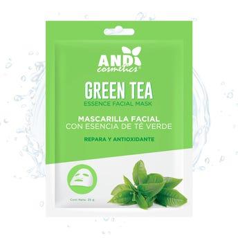Mascarilla facial textil, AND, con esencia té verde, repara y antioxidante, 25 grs.