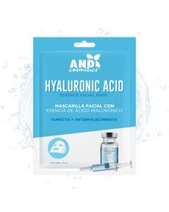 Mascarilla facial textil, AND, ácido hialurónico, humécta y antienvejecimiento, 25 grs.