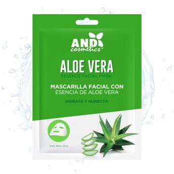Mascarilla facial textil, AND, con esencia de aloe vera, hidrata y humecta, 25 grs.