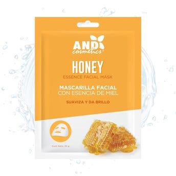 Mascarilla facial textil, AND, con esencia de miel, suaviza y da brillo, 25 grs.