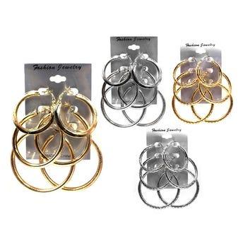 Arete arracada 3 pares, dorado y plateado, Inner por modelo sujeto a disponibilidad, 4 cm A 5.5 cm.