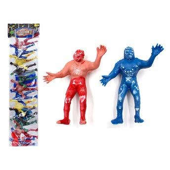 Juego de 10 muñecos luchadores, grande, colores surtidos, 10 cm.