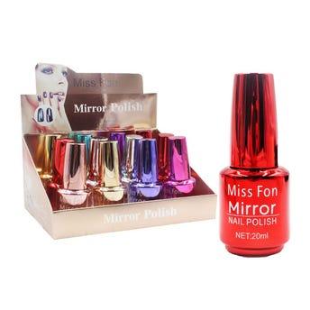 Esmalte Para Uñas Efecto Espejo, Miss Fon, Colores Surtidos, 20 Ml.
