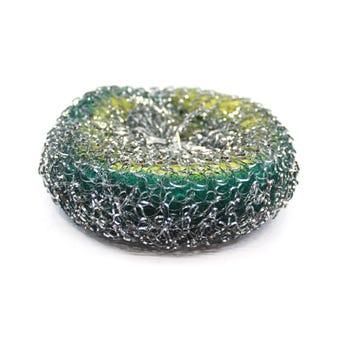 Fibra metálica para trastes con esponja, 13 X 4 cm.