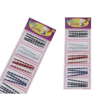 Pasador para cabello ondulado, cartón con 20 pz, escolar, 5.5 cm.