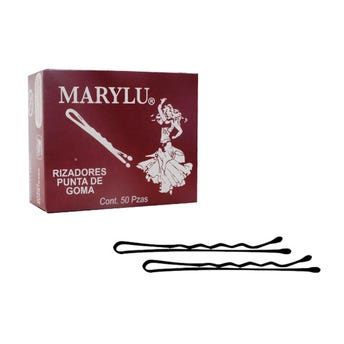 Pasador para cabello con punta de goma, MARYLU, caja con 50 pz, negro, 5 cm.