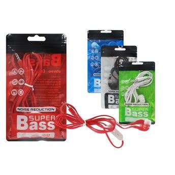 Audifono Manos Libres, Super Bass, Colores Surtidos, 1.10 Mts,