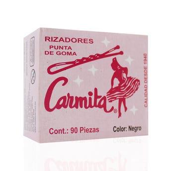 Pasadores para cabello con punta de goma, CARMITA, negro, caja con 90 pz, 5 cm.