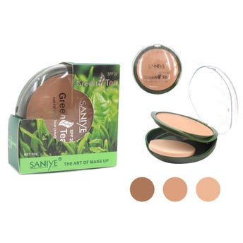 Maquillaje En Polvo Compacto Con Fps 20, Saniye, Té Verde, 4 Tonos Surtidos, 30 Grs.