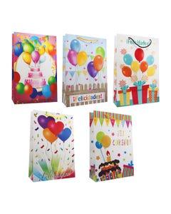 Bolsa para regalo, vertical de Cumpleaños, modelos surtidos, 29.5 X 20 cm.