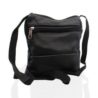 Bolsa mariconera de vinipiel, modelos sujetos a disp, negro, 18 x 16 x 3 cm.