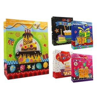 Bolsa para regalo con glitter 3D, feliz cumpleaños, mod surt sujetos a disp, 32 x 26 x 10 cm.