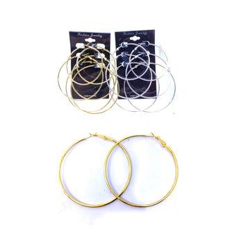 Arete arracada 3 pares metálica lisa, dorada, tamaños surtidos, 6, 7, 8 cm.
