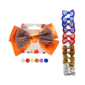 Pinza para cabello caimán moño grande doble brilloso, colores surtidos, 12 X 7.5 cm.