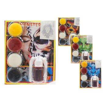 Set de maquillaje HALLOWEEN con 4 pastillas, 1 gotero con sangre artificial, colmillos y tatuaje