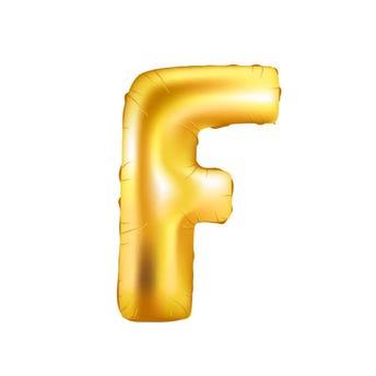 Globo letra F, dorado, 39 x 23 cm, 16 pulg.