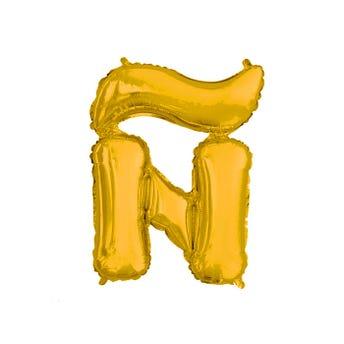 Globo letra Ñ, dorado, 40 x 32 cm, 16 pulg.