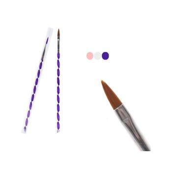 Brocha pincel para acrílico # 6, 8, 10, colores sujetos a disp, 22 cm.