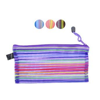 Bolsa cosmetiquera, tipo malla con cierre, colores surtidos, 12 X 23 cm.