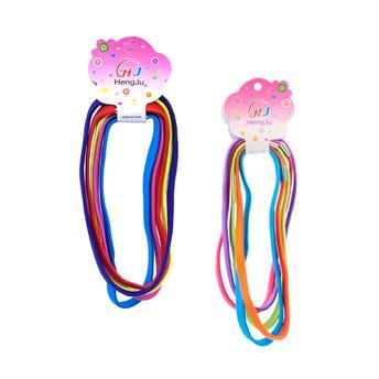 Liga banda para cabello con grapa en cartón con 5 pz, colores ssurtidos.
