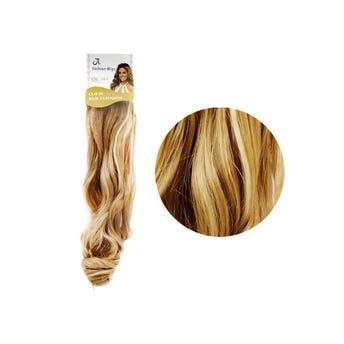 Extensión para cabello, ondulado, rubio con rayos, 23 x 50 cm.